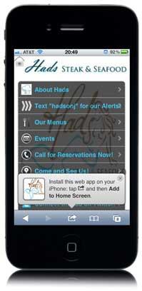 Mobile Website App for Hads Steak & Seafood
